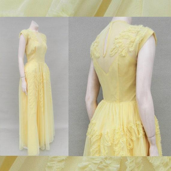 Vintage 1940's yellow bridesmaid dress robe de sty