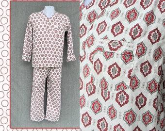Vintage 1960's Men's Knight Klad pajamas long sleeve red gray white retro pjs