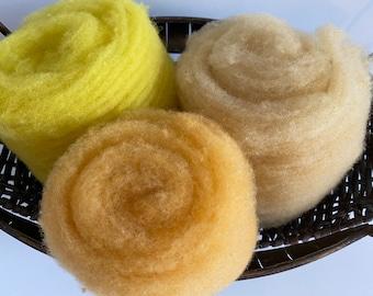 Yellow Pack of Needle-Felting Fiber 1.5 oz - Babydoll Southdown Wool