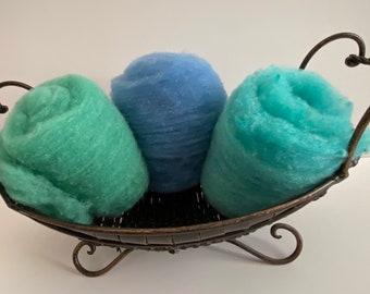 Light Green-Blue Pack of Needle-Felting Fiber 1.5 oz - Babydoll Southdown Wool