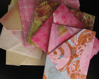 Abstract Pinks & Cremes - 8 Decorative Folded Self-Closing Origami Paper Ephemera Envelopes, Double Thick Single Sided 12x12 Scrapbook Paper