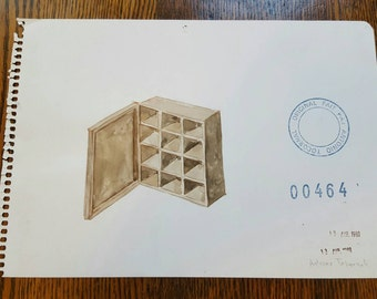 ANTONIO TOCORNAL #464 Cabinet of Small Boxes Sepia Watercolor Original Painting Artist Signed Vintage Eclectic Minimalist Kitsch Off-Beat