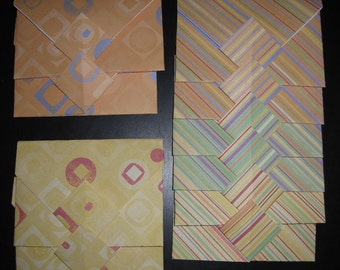 Stripes & Geometric Circles - 10 Decorative Folded Self-Closing Origami Paper Envelopes, Double Thick Single Sided 12x12 Scrapbook Paper