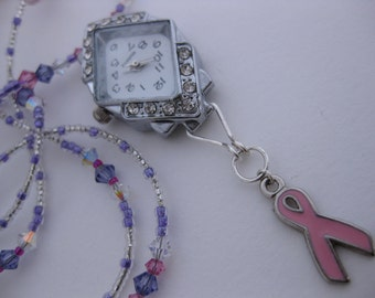 Pink Enamel Breast Cancer Awareness Ribbon & Clear Diamond Rhinestone Watchface Nurses Watch Necklace w/Swarovski Crystals Tanzanite Chips