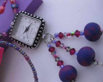 Pink & Purple Handmade Fimo Clay Beads and Swarovski Crystal Dangle Pendant Nurses Watch Necklace w/Cranberry Pink Pearls, Mystery Beads