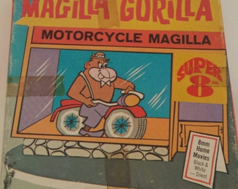 "Vintage Super 8 Classic Cartoon Movie ""Magilla Gorilla: Motorcycle Magilla"" Columbia Pictures MG-22 BW/Silent Retro Litho & Film Collectible"