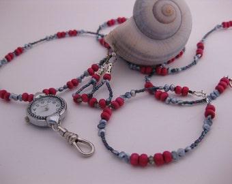 3pc Jewelry Set w/Nurses Watch Necklace, Bracelet, Earrings - Heart Watchface, Pink Wooden Beads, Peacock Pearls, Crystals & ID Badge Holder