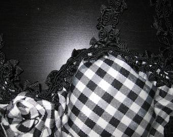 VINTAGE 90s Unique OOAK Rose Bud Center Black & White Checkered Bustier Lace Applique Straps Designer Couture Bra Lingerie Corset 30B-32C