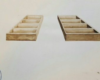 ANTONIO TOCORNAL #494 Ladder Shelf Drawer Boxes Sepia Watercolor Original Painting Artist Signed Vintage Eclectic Minimalist Kitsch Abstract