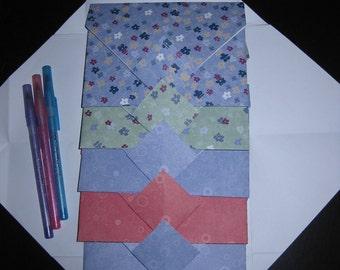 Stripes Flowers Circles - 6 Decorative Folded Self-Closing Origami Paper Ephemera Envelopes, Double Thick Single Sided 12x12 Scrapbook Paper