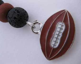 Lava Rocks FOOTBALL Sports Charm for Cell Phone, Flash Drive, Camera, Zipper Pull - Enameled Pewter Sports Charm w/Lava & Earthen Clay Beads