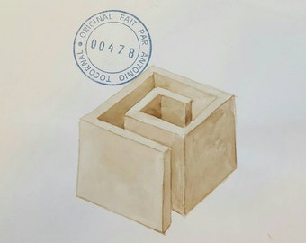 ANTONIO TOCORNAL #478 Pile & Brown Box Maze Sepia Watercolor Original Painting Artist Signed Vintage Eclectic Minimalist Kitsch Off-Beat