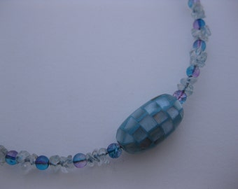 Beachy Blue Choker Style Memory Wire Necklace w/Laminated Blue Oval Shell Focal Bead, Aquamarine Chips, Purple and Blue Crackle Beads