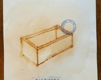 ANTONIO TOCORNAL #410 Vtg Smudged Souvenir Treasure Chest Open Casket Box Brown Sepia Watercolor Painting Artist Signed Eclectic Spanish Art