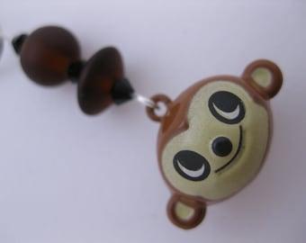 Kitschy Kawaii MONKEY HEAD Jingle Bell Charm for Cell Phone, Flash Drive, Camera, Zipper Pull w/Black Swarovski Crystals & Brown Sea Glass
