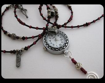 Pewter BandAid Crutch Stethescope Caduceus Medical Charms Nurses Watch Necklace w/Silver Beads & Swirl Pin, Garnet Beads, Swarovski Crystals