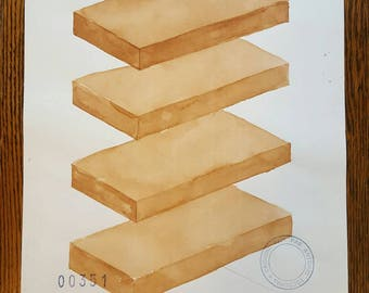 ANTONIO TOCORNAL #351 Unique Viewpoint Pattern Cubes Tiles Panels Shelves Brown Sepia Vintage Watercolor Painting Artist Signed Eclectic Art