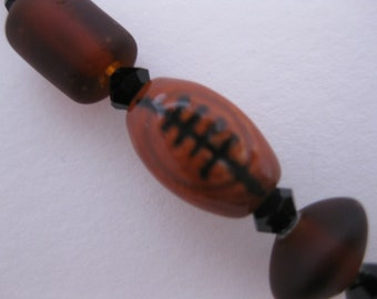 FOOTBALL Bead Hanging Charm for Cell Phone, Flash Drive, Camera, Zipper Pull - Peruvian Ceramic Sports Bead, Swarovski Crystals & Sea Glass