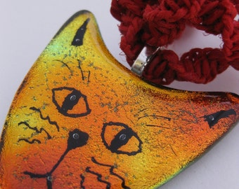 Funky Spunky Kawaii Little Kitty Dichroic Hippie Hemp Necklace w/Red, Yellow, Gold Sparkly Glass Cat Head Pendant, Twisted Red Hemp Necklace