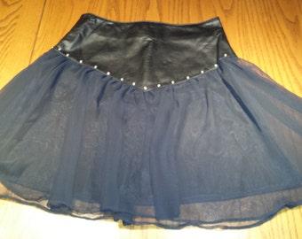 "VINTAGE 1980s Dangerous Threads Rock Punk Hipster Rhinestone Embellished Wow Rhinestone Studded Black Leather Sheer Spin Mini Skirt 25"" EUC"