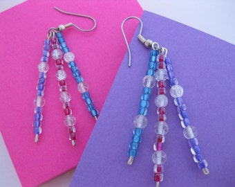 Funky Spunky Sparkly Colorful Earrings - Clear Crackle Glass & Pink, Purple and Blue Lined Multi-Colored Glass Beaded Triple Dangle Earrings