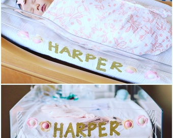 newborn hospital gold glitter name banner with felt flowers
