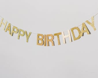 Happy Birthday glitter banner with tassels
