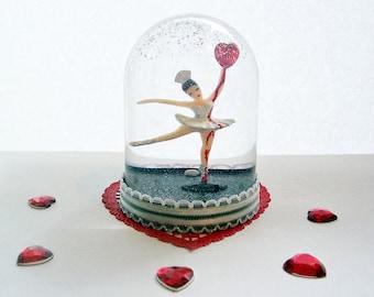 Made to Order Bleeding Heart Ballerina Snow Globe Anti-Valentine's Day