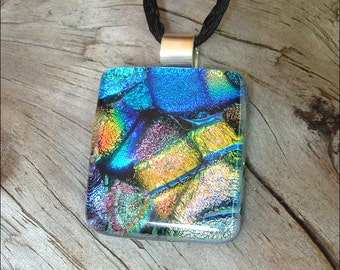 Fused dichroic glass jewelry -  pendant  necklace - three dimensional multicolor