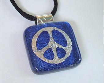 Dichroic glass jewelry - peace symbol  pendant -  three dimensional