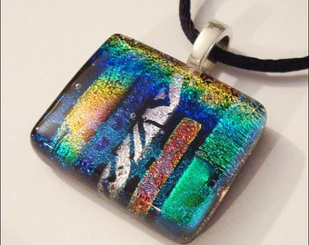Dichroic glass jewelry - pendant necklace - multicolor