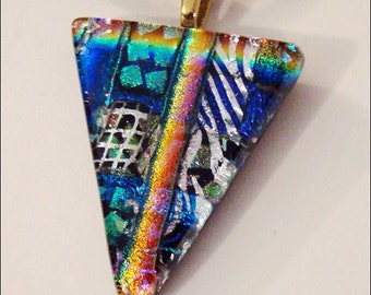 Multicolored fused dichroic glass jewelry, pendant - necklace