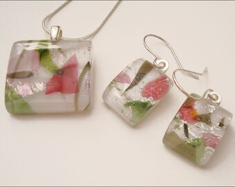 Fused dichroic glass jewelry - pendant and earrings