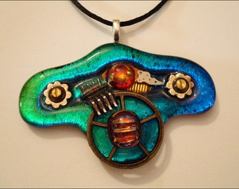 Steampunk jewelry - mixed media - dichroic glass pendant necklace - watch parts