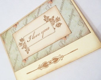 Shabby chic french inspired romantic LOVE CARD with BUTTERFLIES
