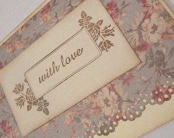 VINTAGE style french inspired shabby chic card set WITH LOVE