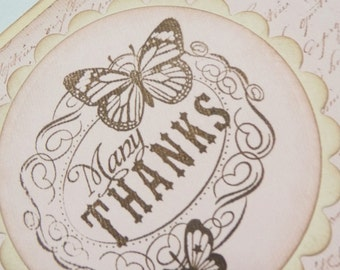 Vintage style, french inspired script and butterfly THANK YOU greeting card