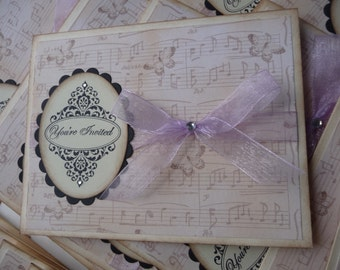 Vintage style french inspired butterfly and musical notes WEDDING INVITATIONS Sample