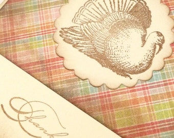 Thankful - Vintage style french inspired THANKSGIVING TURKEY greeting cards - set of 3
