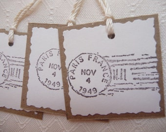 Vintage style shabby chic French PARIS mini gift tags