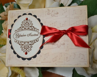 Vintage style french inspired shabby chic WEDDING INVITATIONS with butterflies and musical notes - red ribbon