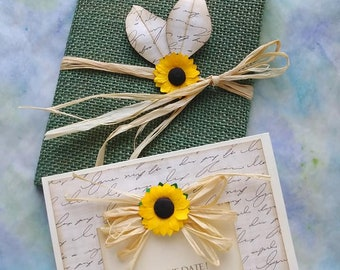 Green Burlap Sunflower Wedding Invitation