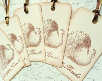 Vintage style french inspired THANKSGIVING FALL TURKEY Tags - set of 10