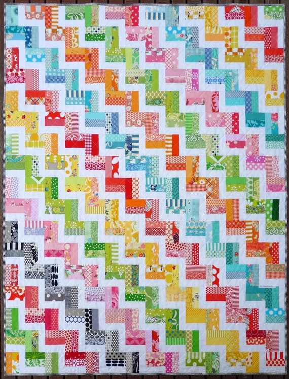 Zig Zag Rail Fence Quilt Pattern Pdf By Red Pepper Quilts Etsy
