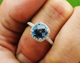 Cushion Cut London Blue Topaz and Diamond Halo Ring