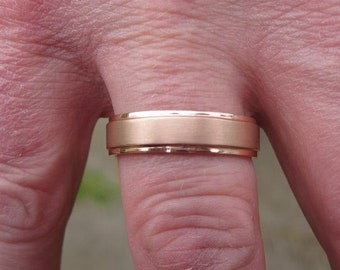 5mm Stepped Wedding Band With Sandblasted Center in 14K Yellow Gold, Rose Gold, or White Gold