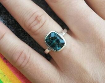 3 Carat Cushion Cut London Blue Topaz Ring in Sterling Silver
