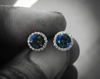 London Blue Topaz and Diamond Halo Earrings