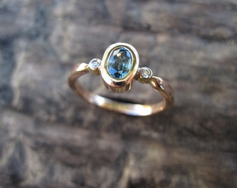 Natural Blue Zircon with Diamonds in 14K Rose Gold