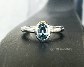 Natural Blue Zircon Ring in 14K Yellow or White Gold